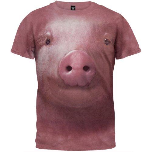 The Mountain Pig Face Adult T-Shirt, Pink, 3XL