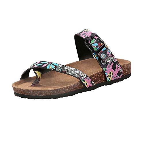 MARLU Frauen Verstellbare Schnalle Zwei Riemen Flip-Flops Zehenring Slip on Comfort Flats Rutschen Strände Walk Travel Sandalen Geschenk, Größe (35-44),Flower,44