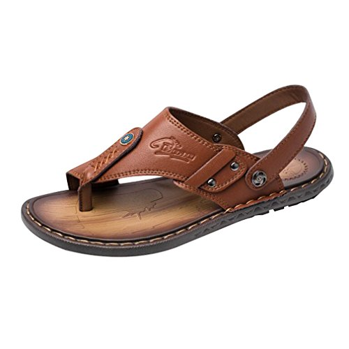 Junkai Männer Klassische Mode lässig Anti-Rutsch Flip-Flops Hausschuhe Sommer komfortable leichte Zwei tragen Leder Thongs Sandalen