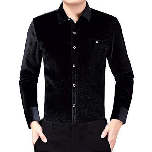 Sliktaa Herrenhemd aus dickem Samt, warm, langärmlig, lässig, einfarbig, bügelfrei, Herbst / Winter Gr. S, Schwarz