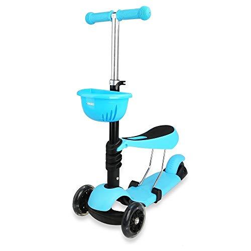 Mini Skateboard Kleinkind Roller Deluxe 3-Rad 3-in-1 Micro Mini Kick Roller mit abnehmbarem Sitz, LED blinkenden Rädern und verstellbarer Lenkstange for Kinder (blau) Zufriedenstellendes Produkt