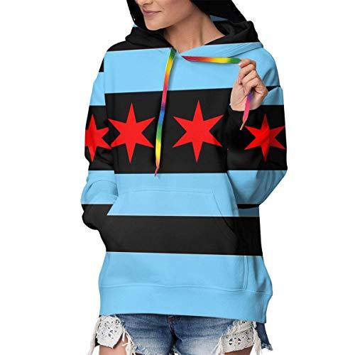 NA Mädchen & Frauen Langarm Hoodies Pullover Sweatshirt Slim Tunika Top Bluse M Chicago Stars Flagge blau weiß gestreift