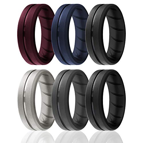 ROQ Silicone Rings, Breathable Silicone Rubber Wedding Ring Band for Men with Comfort-Fit Design, 8mm Engraved Middle Line, 6 Pack, Silicone Wedding Ring - Black, Blue, Silver, Maroon Colors - Size 10