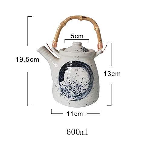 BEPM Teekanne Teekanne Groß Teebereiter Hohe Kapazität 600/1000 / 1200Ml Traditionelle Chinesische Retro Handgemalte Keramik Teekanne Bambusgriff Porzellanteekanne-5
