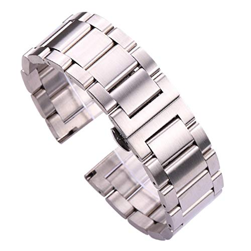 ZJSXIA 18 20 21 22 23 24mm Metal Watch Band Strap Men Stainless Steel Watchband Link Bracelet Double Fold Deployment Clasp Watch Strap Watch Bands (Color : 23mm, Size : 1)