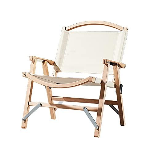 Silla plegable para acampar al aire libre de madera maciza reclinable con...
