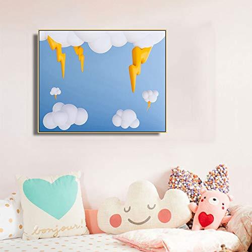 ganlanshu Dreidimensionales Posterbild eines dunklen Wolkenblitzes auf der Leinwand,Rahmenlose Malerei,40x50cm