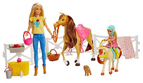 Barbie Hugs 'n Horses Playset and Chelsea Dolls, 2 Horses and 15+ Accessories for Kids 3 Years Old and Up