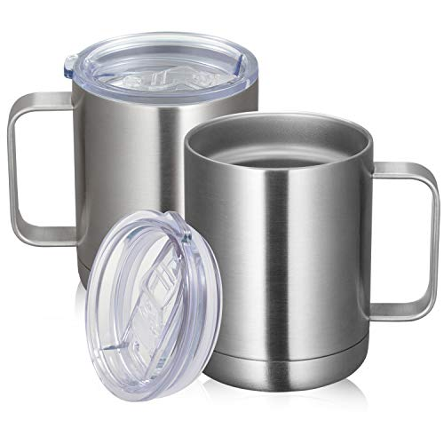 MANYHY 12oz Stainless Steel Coffee Mug with Handle and Sliding Lid, Insulated Travel Cup 2 Pack Bulk, Double Wall Vacuum Thermal Thermos Camping Tumbler for Hot & Cold Tea Drinks (Silver, 2 Pack)