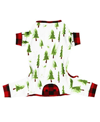 LazyOne Flapjacks, One-Piece Dog Sweater, Matching Family Pajamas for Dogs, Evergreen Plaid, Holiday, Christmas, Painted Tree (Large)