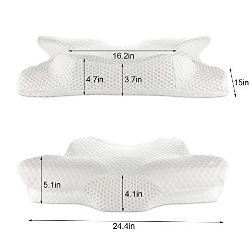 Neck Support Pillow with Hypoallergenic Pillowcase 4332456308 Coisum Orthopedic Memory Foam Pillow Ergonomic Bed Pillow for Side Sleepers Back Sleepers Cervical Pillow Contour Pillow for Neck and Shoulder Pain