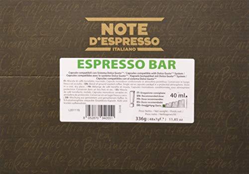 Note d'Espresso Italiano - Cápsulas de café Sistema Dolce Gusto, compatibles con cafeteras Dolce Gusto, Espresso Bar, 48 x 7 g, Total 336 g