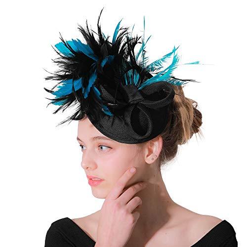Chapeau de mariée Chapeau supérieur de fascination de chapellerie de cocktail de thé de fleur pour des filles et des femmes Pour la mariée mariage ( Couleur : Blue black , Taille : Free size )