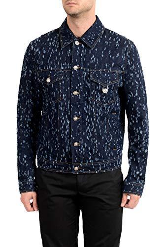 Versus by Versace Jaqueta jeans masculina azul escuro envelhecida EUA P IT 48