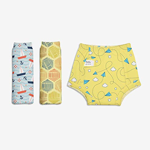 Superbottoms Padded Underwear-Pack of 3 Potty Training Pants for Babies/ Toddlers/ Kids. 100% Cotton,Padded,Semi Waterproof,Pull Up Underwear Trainers For Girls and Boys (Size 3, Explorer)