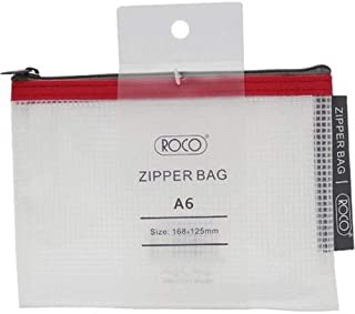 Roco RQ-FB8063PNK A6 Topload Opening Document Pouch, Clear-Pink Accent