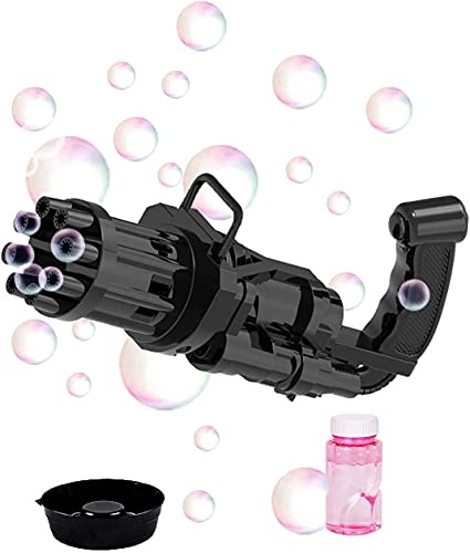 PGG-bro Gatling Bubble Machine, 2021 Electric Bubble Gun Toy, 8-Hole Huge Amount Bubble Maker, Newly Outdoor Toys for Boys and Girls (Black)