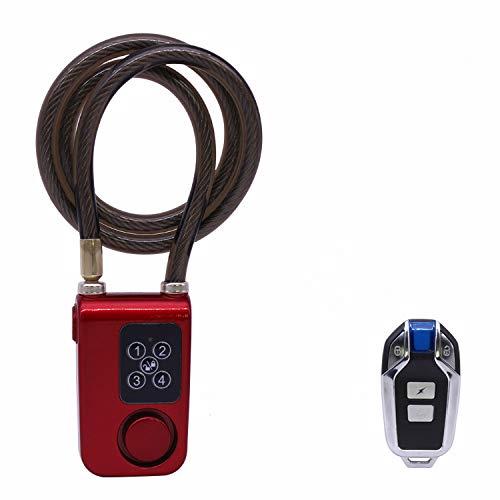 WOHCO Bloqueo de Bicicleta, Bloqueo de Alarma de Control Remoto inalámbrico de Seguridad antirrobo, indicador LED de contraseña de 4 dígitos IP55 a Prueba de Agua, para Bicicletas, Motocicletas y más