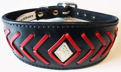 35,6–43,2 cm Noir/Rouge Poisson os motif Lévrier Whippet en cuir collier pour lévrier