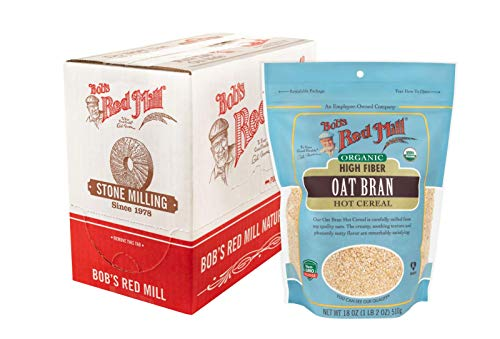 Bob's Red Mill Organic High Fiber Oat Bran Hot Cereal, 18-ounce (Pack of 4)