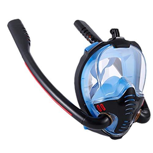 Tubo De Snorkel Careta De Protección De La Cara Llena Doble Buceo Silicón De La Cara Cubierta Que Aisla Vaho Y Anti-Fugas Negro Azul S M Tamaño