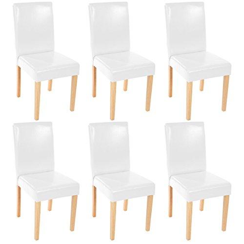 Mendler Lot de 6 chaises de séjour Littau, Simili-Cuir, Blanc, Pieds clairs