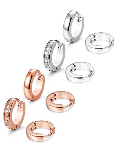 JOERICA 4 Pairs Stainless Steel Small Hoop Earrings for Men Women Ear Piercing,SR