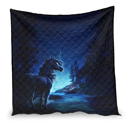 Dessionop Fantasy caballo unicornio azul noche impresión manta regalos cama blanco 180 x 200 cm