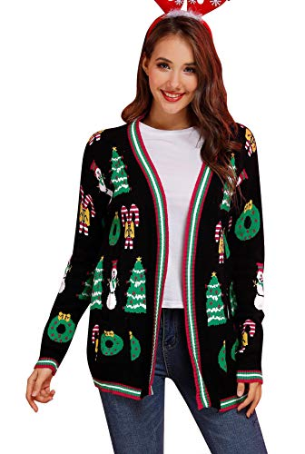 Christmas Womens Winter Knit Open Front Cardigan Ugly Long Sleeve Oversized Sweater with Pockets Black S