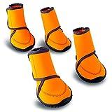 Zapatos Impermeables para Perros Correas Ajustables Botas Antideslizantes para la Nieve y la Lluvia Protectores de Patas para Perros Pequeños Medianos Grandes, Naranja,XS