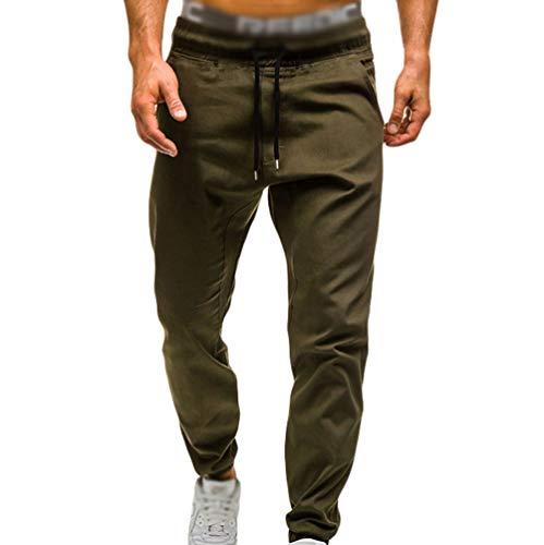 Xinwcanga Hombre Pantalones de Montar a Caballo Elástico Deportivos Ocio Aptitud Pantalones con Cordón (Ejercito Verde, Asia XL)