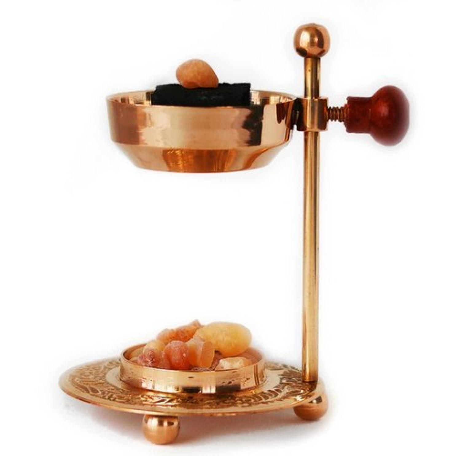 古くなった検出横Handmade Adjustable Brass/Gold Incense and Frankincense Resin Burner/Censer holder for Charcoal and Candles. Ideal Use with Frankincense, Copal, Dragons Blood, Myrrh and various resins