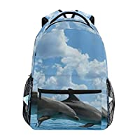 EILANNA リュックサック、イルカ2頭のクジラが日光の野生生物とジャンプ、軽量 大容量 男女兼用 おしゃれ 可愛い リュックバックパッ 通学 通勤 外出 アウトドア 多機能