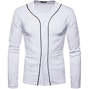 Men Top Fashion Casual Autumn Fitness Long Sleeves Button Casual V-Neck Solid Pullover (M, White)