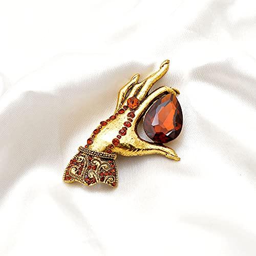 RWJFH Broche Broches de Mano para Mujer, alfiler de Palma de Cristal Grande, joyería de Moda, Accesorios de Invierno
