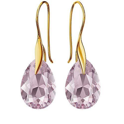 Pendientes chapados en oro de 24 K 925 con cristales de Swarovski – pera – amatista – gancho para mujer – hermosa joya para mujer con caja de regalo