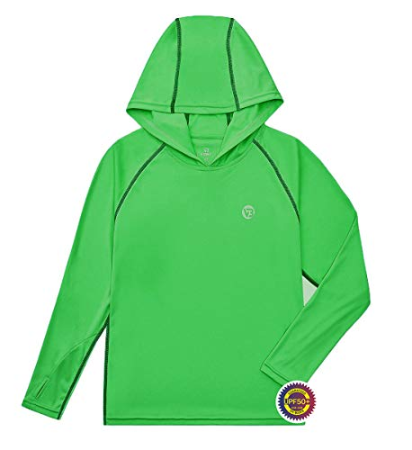 VEOBIKE UPF 50+ Youth Fishing T Shirts Breathable Long Sleeve Camping Hiking Tee for Boys Girls Age 5-16 Fruit Green