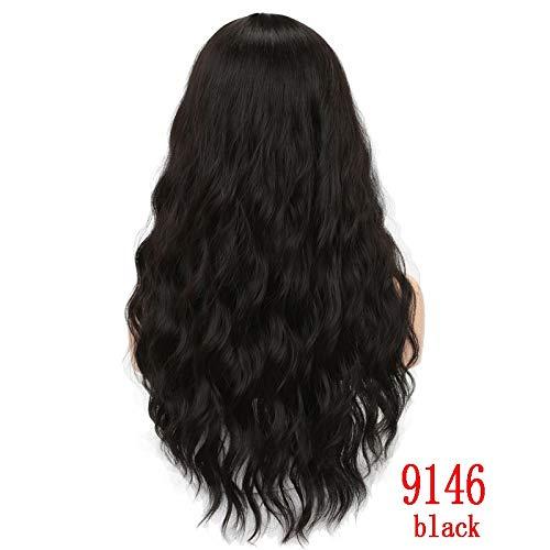Longue Perruque de Cheveux de Vague synthétique Noir Femelle Afro-américaine (Color : P2/613, Stretched Length : 26inches)