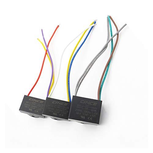 ZHENGLUSM Condensador 250VAC CBB61 3/4/5 1 1.2 2 2.3 2.5 3 3.5 4 4.5 5 6 6.5 UF + Cables Capacitador de Funcionamiento del Motor Velocidad del Ventilador eléctrico 250V (Speed : 5 6.5 6.5uF)