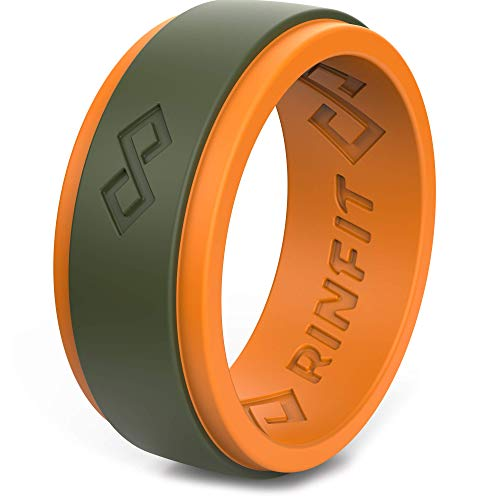 Rinfit Silicone Wedding Ring for Men. Step Edge Design. Silicone Rubber Wedding Bands (Size 13, Orange & Army Green)