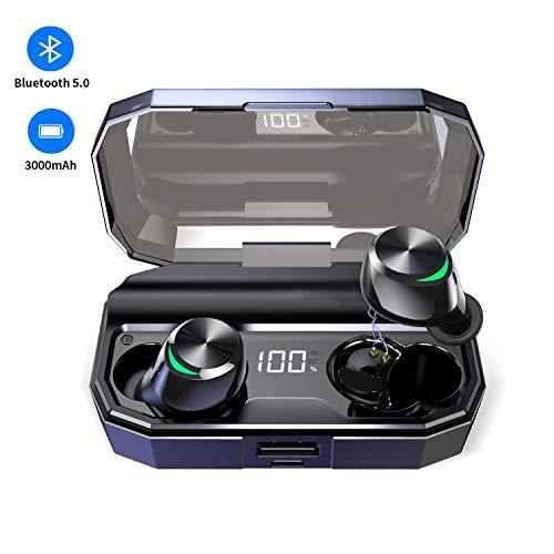 Muzili Ecouteur Bluetooth 3000mAh Micro HD Stéréo CVC8.0 Antibruit 【LED 100%-0】 Écouteur sans Fil 130 Heures...