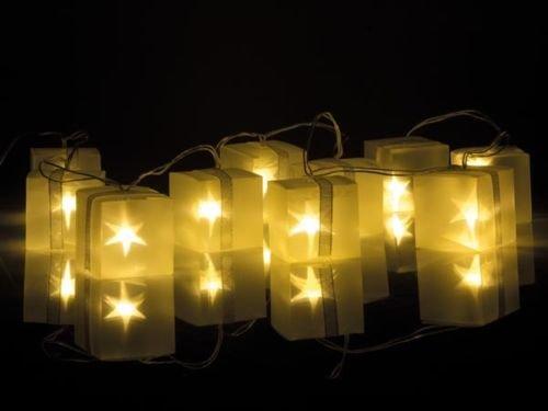 GUIRLANDE LUMINEUSE A 10 LED HOLOGRAPHIQUE CUBES PAQUETS CADEAUX ETOILES 1,75m