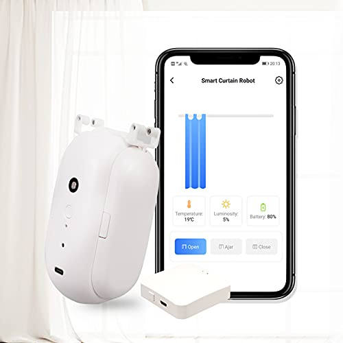 Smart Curtain Robot, Automatic Curtain Opener Remotely, Support Tuya App/Smart Home Life Control, Compatible with Google Home and Alexa, Light Sensor and Temp Control, Open on one Side (I-Rail)