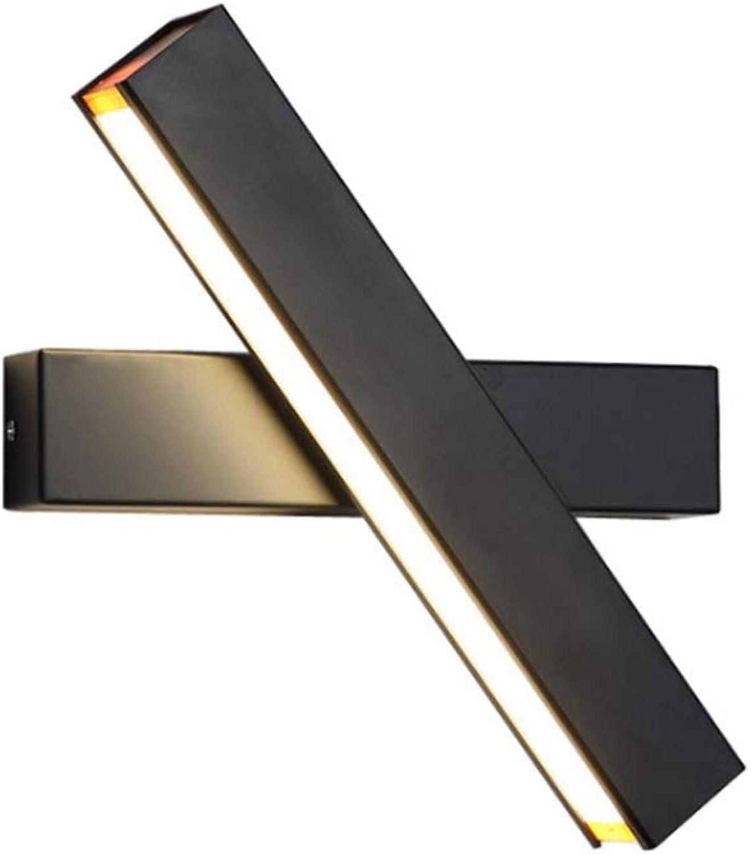 Modern Wandleuchte Innen 7W Wandlampe Warmwei,DOCJX 360° Drehbare Modern Wandbeleuchtung Eisen Wandlicht für Schlafzimmer Badezimmer Wohnzimmer (Farbe   Drei-Farben-Licht-schwarz-31cm)