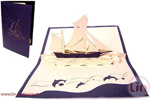 LIN-POP UP 3D Grußkarten Glückwunschkarten Geburtstagskarten Schiff, Reisegutschein Segelboot