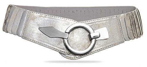 Caspar GU300 Cinturón Ancho Elástico para Mujer con Hebilla Plateado Elegante
