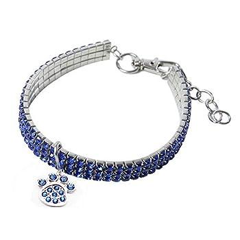 BT Bear Collier de style «bling bling» pour animal de compagnie, collier élastique en cristal et strass, avec pendentif en forme d'os, pour petits chiens et chats