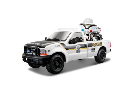 Maisto-FLHTPI Electra Glide con Ford F350 Duty Pickup 1/24 32186, Color Blanco