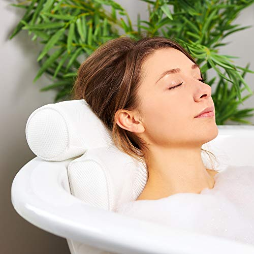 TranquilBeauty Luxury Bath Pillow Waterproof Air Mesh Bath Cushion With Suction Cups For Head And Neck | Ergonomic Bathtub Pillows Home Spa, Jacuzzi & Hot Tub Headrest | Bathing Accessories