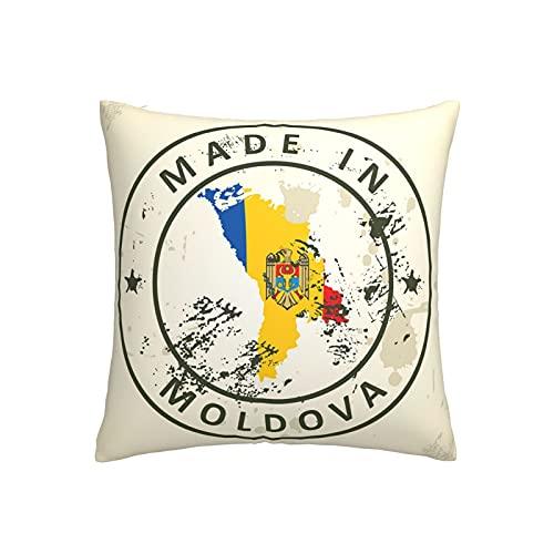 Kissenbezug mit Karte, Flagge, Moldawien, quadratisch, dekorativer Kissenbezug für Sofa, Couch, Zuhause, Schlafzimmer, für drinnen & draußen, 45,7 x 45,7 cm